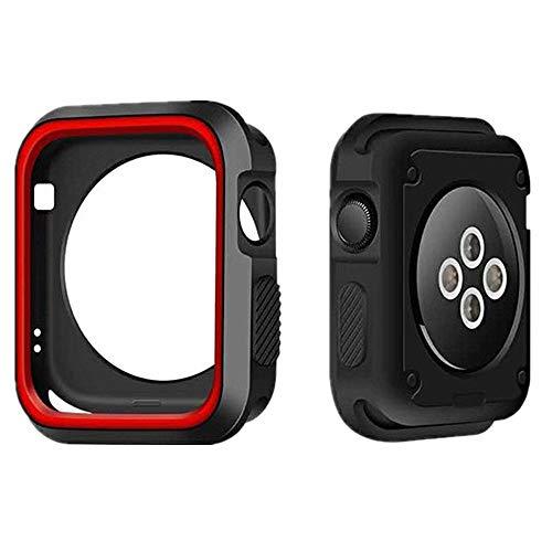 Yrzper Kompatibel mit Apple Watch SE Series 6 5 4 44 mm 40 mm Schutzhülle Ultra Slim Silikon Protective Überzug Schutzhülle Tasche Case für Apple Watch 44 mm 40 mm (Rot + schwarz, 44mm)