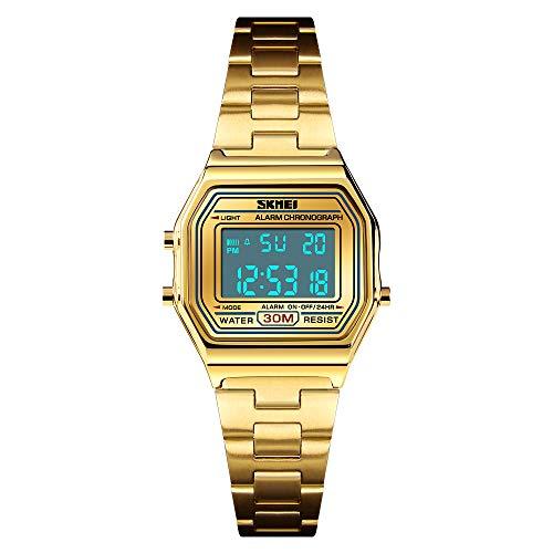 TONSHEN Damen und Mädchen Luxus Fashion Uhren Edelstahl LED Elektronik Alarm Stoppuhr Digitaluhr Multifunktional Outdoor Sportuhr (Gold)