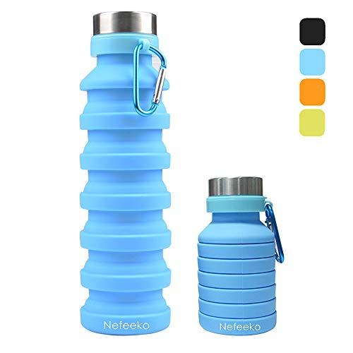 Nefeeko Faltbare Wasserflaschen, 550ML Faltbare Auslaufsicher Sportflasche, BPA Frei Silikon Flasche Wiederverwendbar Trinkflasche für Reise Camping Radfahren Klettern mit Karabinerhaken(Blau)