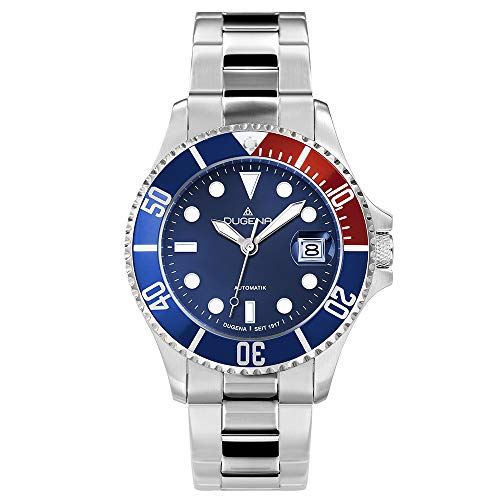 DUGENA Herren-Armbanduhr 4460588 Diver, Automatik, blaues Zifferblatt, Indexe, Edelstahlgehäuse, gehärtetes Mineralglas, 10 bar