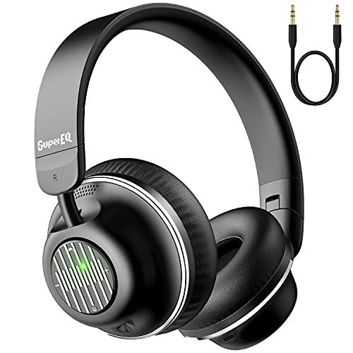 SuperEQ Active Noise Cancelling Kopfhörer, Bluetooth 5.0 Kopfhörer On Ear, Headset kabellos mit ANC Geräuschunterdrückung, Bass, Mikrofon, Sprachanruf, weiche Ohrpolster