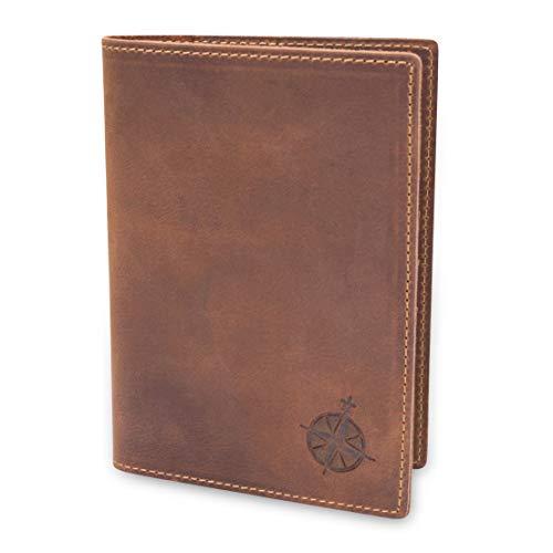 Leder Reisepass Etui Reiseportemonnaie - RFID Blocker Reisepasshülle für Frauen und Männer Echtes Leder - Leather Travel Wallet and Passport Holder