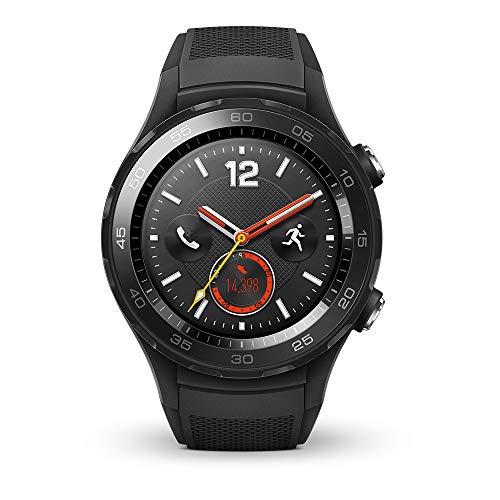 HUAWEI Watch 2 (4G) Smartwatch mit schwarzem Sportarmband (SIM-Unterstützung, NFC, Bluetooth, WLAN, Android Wear/Wear OS by Google) schwarz