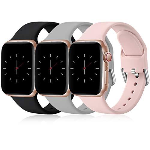Wepro 3 Stück Armband Kompatibel mit Apple Watch Armband 38mm 42mm 40mm 44mm, Weiche Silikon Ersatz Armband Kompatibel mit iWatch Series 6, 5, 4, 3, 2, 1, SE, 38mm/40mm-S/M, Schwarz/Grau/Rosa
