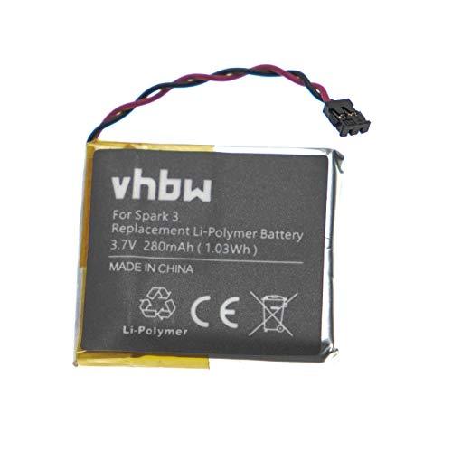vhbw Akku kompatibel mit Tomtom Runner 1, 2, 3 Smartwatch Uhr Fitnessarmband (280mAh, 3,7V, Li-Polymer)