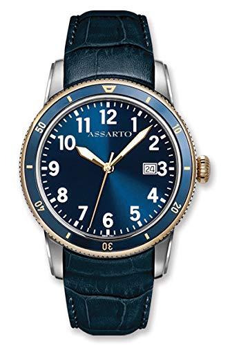ASSARTO Watches ASH-8830T/S-BLU Oceantime-Series Taucheruhr mit Schweizer Uhrwerk, Saphirglas und Lederarmband, Blaue Herrenuhr, Elegante Uhr, Edelstahluhr, Armbanduhr, Quarzuhr, Sportuhr, Luxusuhr