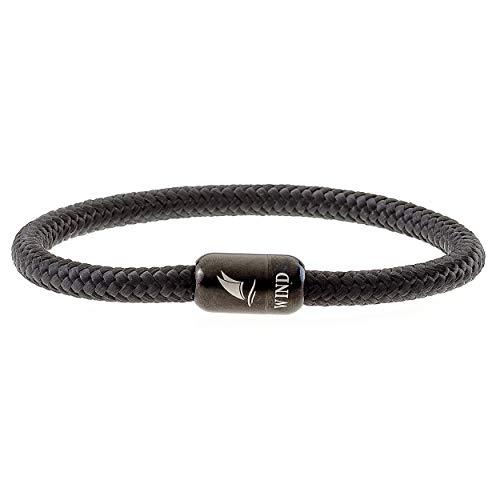 Wind Passion Armband Magnetverschluss Edelstahl Schwarz Segeltau Paracord Maritim für Männer und Frauen, Größe Large