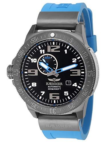 HÆMMER Navy Diver II   Blue Ocean   Herren Automatikuhr aus Edelstahl   Exklusiv Limitierte Taucher-Uhr mit FKM Kautschuk Armband   Wasserdicht bis 300m   Kratzfestes Saphirglas
