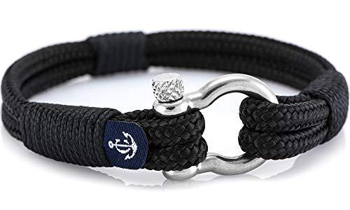 CONSTANTIN NAUTICS SAIL WITH US Maritimes Armband aus Segeltau, handgemacht, für Damen und Herren, mit Edelstahl Schäkel-Verschluss 4mm CNB #3053 19cm