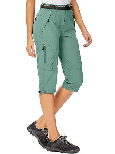 mosingle Damen Cargo-Shorts, schnelltrocknend, gerades Bein, Capri, lange Shorts für Wandern, Camping, Reisen, #2030-hellblau-36