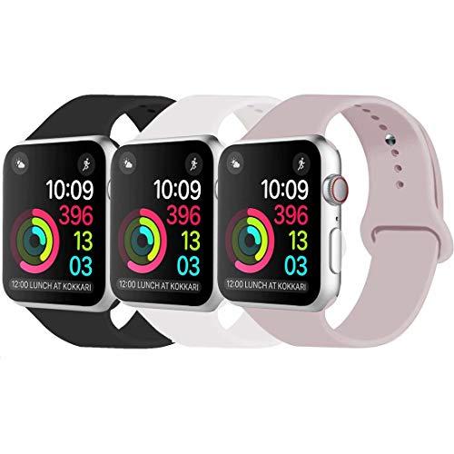 INZAKI Kompatibel mit Apple Watch Armband 38mm 40mm, Classic Sport Ersatzband aus weichem Silikon für Armband für iWatch Serie 6/5/4/3/2/1,SE, Sport, S/M, Schwarz/Weiß/Sandrosa