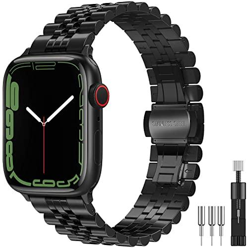 Diruite für Apple Watch Series 7 45mm/6/5/4/SE 44mm Armband,Neues Upgrade Galvanisieren Edelstahl Metall Mit Doppelt Faltschließe Ersatzarmband für iWatch 7/6/5/4/SE 44(45)mm