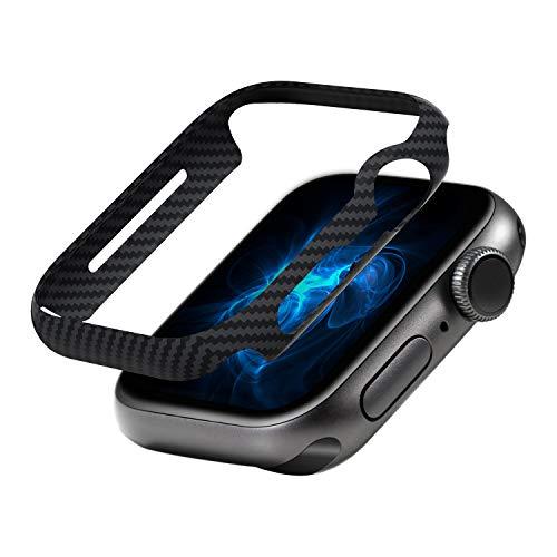 pitaka Air Case für Apple Watch Series 5/Series 4 44mm, Ultradünne, stoßfeste iWatch hülle, langlebig,umfassender Schutz, 600D Aramidfaser, Kratzfest, Carbon-Stil, leicht entfernbar