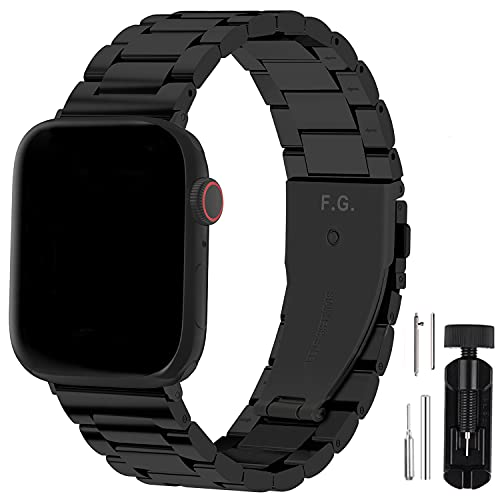 Fullmosa Für Apple Watch Armband 44mm/42mm 6 Se und 40mm/38mm, Edelstahl Ersatzband für iWatch Series SE/6/5/4/3/2/1, 44mm/42mm Schwarz