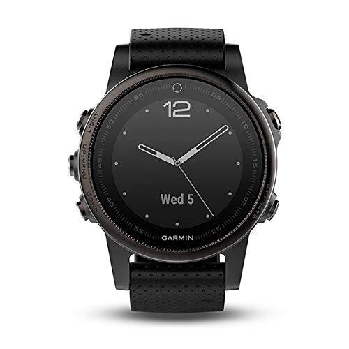 Garmin Fenix 5S Bluetooth-Sportuhr, Schwarz, aus Polymer, Edelstahl und Saphirglas, Silikonband, Wasserdicht bis 10 ATM (Generalüberholt)