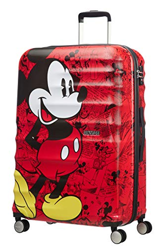 American Tourister Wavebreaker Disney - Spinner L Koffer, 77 cm, 96 L, Rot (Mickey Comics Red)