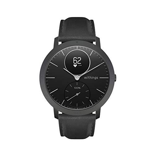 Withings Steel HR Hybrid Smartwatch - Fitnessuhr mit Herzfrequenz und Aktivitätsmessung, 40mm - Schwarz - Saphirglas - Limited Edition, Schwarz Lederband
