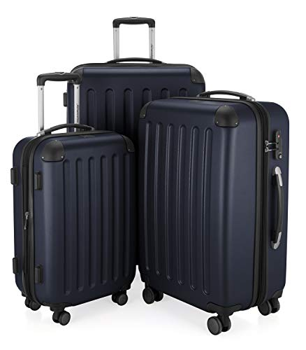 HAUPTSTADTKOFFER - Spree - 3er Koffer-Set Trolley-Set Rollkoffer Reisekoffer Erweiterbar, TSA, 4 Rollen, (S, M & L), Dunkelblau