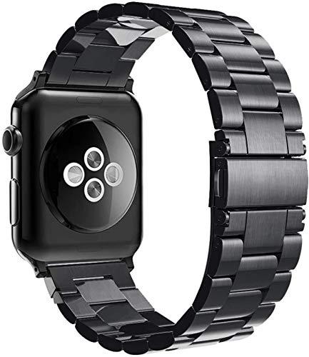 Simpeak Armband kompatibel mit iWatch 44mm 42mm Series 6/SE/5/4/3/2/1, Edelstahl Uhrenarmband Ersatz Armbänder mit Metallschließe Kompatibel für iWatch - Schwarz