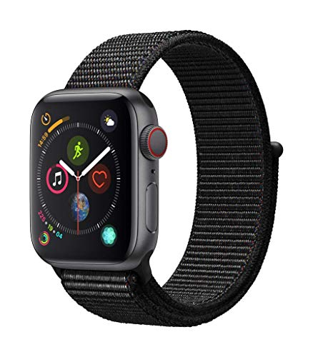 Apple Watch Series 4 GPS + Cellular, 40mm Aluminiumgehäuse, Space Grau, mit Sport Loop, Schwarz