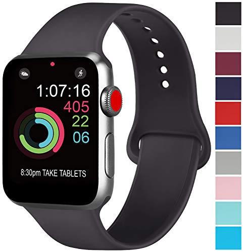 AK kompatibel mit für Apple Watch Armband 42mm 38mm 44mm 40mm, Weiche Silikon Sport Ersatz Armband kompatibel mit für iWatch Series 4, Series 3, Series 2, Series 1 S/M M/L (01 Schwarz, 42/44mm M/L)