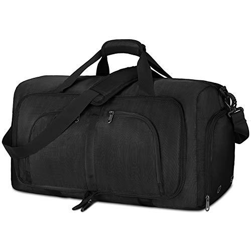 NEWHEY Faltbar Reisetasche Groß 40L 65L 80L Sporttasche Herren Damen mit Schuhfach Leichter Weekender Übernachtung Tasche für Reisen Gym Duffel