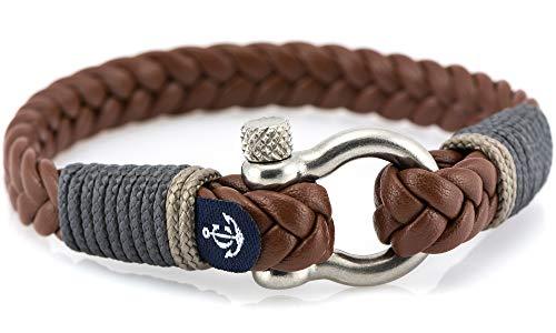 CONSTANTIN NAUTICS SAIL WITH US Maritimes Armband aus Leder, handgemacht, für Damen und Herren, mit Edelstahl Verschluss 4mm CNJ #10019 19cm