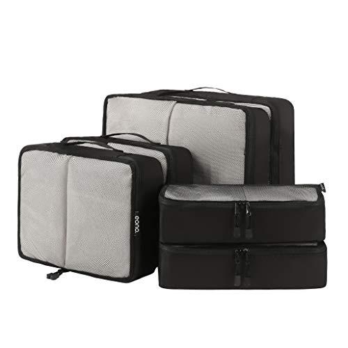 Eono by Amazon - 6 Teilige Kleidertaschen, Packing Cubes, Verpackungswürfel, Packtaschen Set für Urlaub und Reisen, Kofferorganizer Reise Würfel, Ordnungssystem für Koffer, Packwürfel, Net