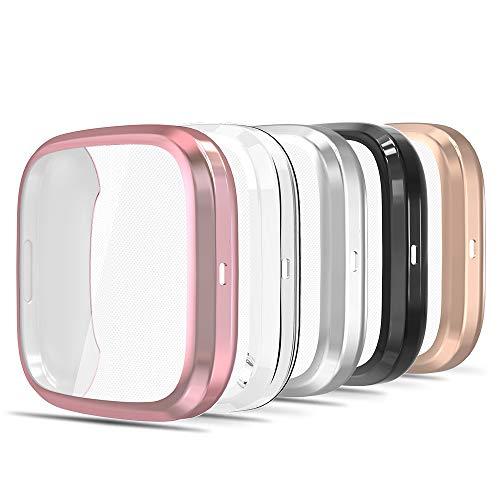 Simpeak 5-Stück Hülle Kompatibel für Fitbit Versa 2 [Nicht für Versa/Lite/SE], Schutzhülle Leicht Weiche Silikon Ultradünne TPU Case - Transparent+Rosenpulver+Schwarz+Silber+Roségold