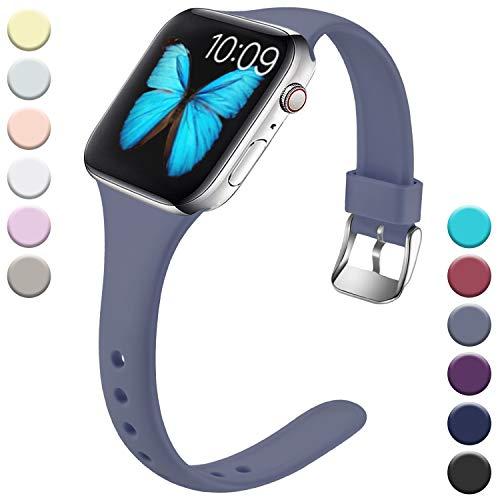 Wepro Kompatibel für Apple Watch Armband 38mm 40mm, Schlank Dünnes Weiches Silikon Ersatzarmband mit Klassischer Schnalle für Apple Watch Series 5/4/3/2/1 S/M, Blau Grau