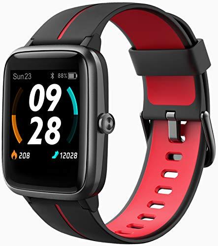 Blackview Smartwatch,GPS Fitness Tracker Fitness Armbanduhr Pulsuhr 5ATM Wasserdicht Touch-Farbdisplay Sportuhr Smart Watch Schrittzähler,Stoppuhr Schlafmonitor für Herren Damen für iOS Android(rot)