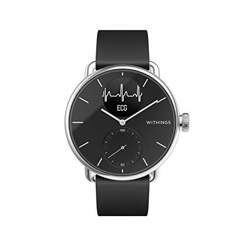 Withings Unisex-Adult Scanwatch 38mm Black Hybrid Smartwatch mit EKG, Herzfrequenzsensor und Oximeter, schwarz