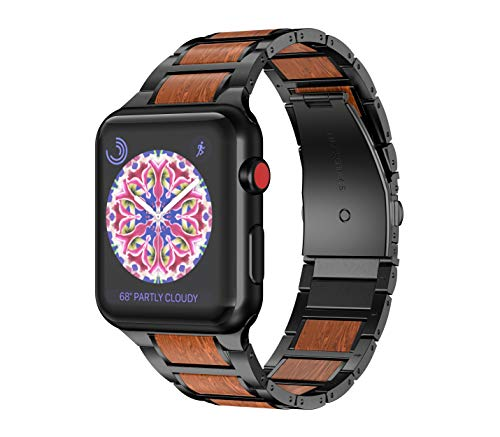 NotoCity Hybrid Uhrenarmband Kompatibel mit Apple Watch 38mm 40mm Armband Rotes Sandelholz und Edelstahl für Apple Watch Series 5/4/3/2/1