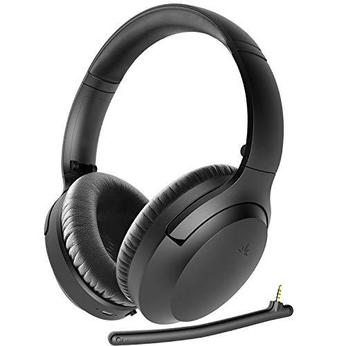 Avantree Aria Bluetooth 5.0 Active Noise Cancelling Kopfhörer Headset für Musik & Anrufe, Dual Mikrofon, Boom-Mikro & Eingebaut Mikro, Komfort 35H, Over Ear Kabellos & Verkabelt für Handy PC Laptop
