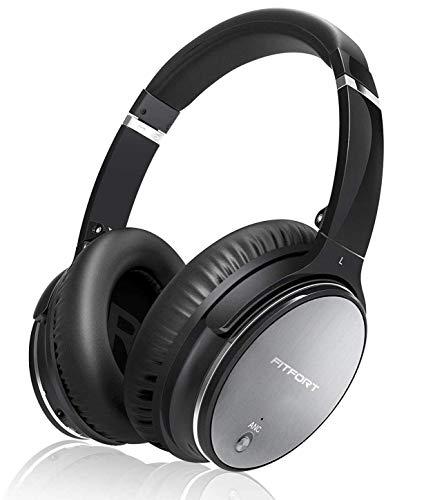Bluetooth Wireless Kopfhörer Noise Cancelling - Hiearcool L1 HiFi Stereo Drahtlose Headset Over Ear mit Mikro Lautstärkeregler für alle Geräte mit Bluetooth oder 3,5 mm Klinkenstecker (schwarz L1)