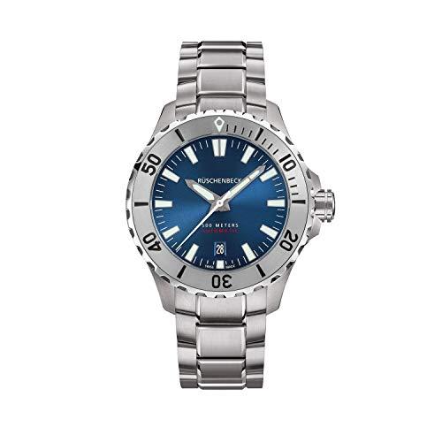 Rüschenbeck The Watch Automatik Herrenuhr R4DIVER Taucheruhr 316L Edelstahl 42 mm Saphirglas Edelstahlarmband Wasserdicht 500 m blau/Silber R4-S-MB-S-04-I-SLN2