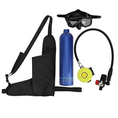 Denkerm Tauchflasche, 1L Mini tragbare Tauchflasche Tauchausrüstung für Tauchflaschen mit Einer Kapazität von 15 bis 20 Minuten Tauchen Sauerstofftank Atem Unterwassergerät(Blau)