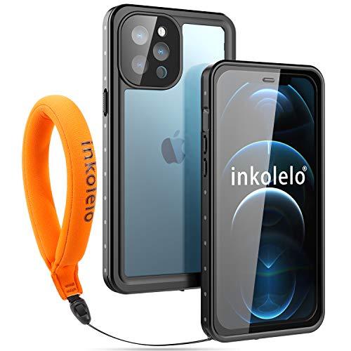 wasserdichte Hülle für iPhone 12 pro max Schutzhülle Ganzkörper Unterwasser Wasserdicht IP68 Rugged Schale Wasserschutzhülle mit Schwimmender Schlüsselband für iPhone 12 pro max (Mattschwarz/Orange)