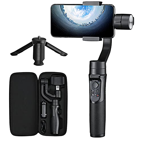 Smartphone Gimbal Stabilizer – Hohem 3-Axis Gimbal Stabiliser with Sports Mode, Smart Tracking, Time Lapse, 3600 mAh Battery, Waterproof for iPhone 12/11/XR, Samsung, Huawei Jusqu'à 280g;Contrôle APP