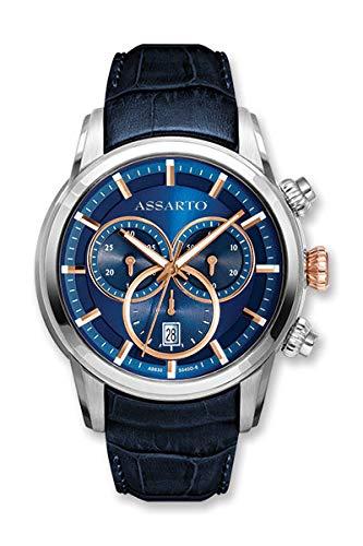 ASSARTO Watches ASH-9830TR/S-BLU Chronotime-Series Chronograph mit Schweizer Uhrwerk, Saphirglas und blauen Lederarmband, Luxusuhr, Armbanduhr, Herrenuhr, Edelstahluhr, Sportuhr, Quarzuhr, Blaue Uhr
