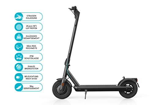 ODYS αlpha X10 Faltbarer E-Scooter mit Straßenzulassung (max. Geschwindigkeit 20 km/h, bis zu 30 km Reichweite, max. Belastung 120 kg, 10' Luftreifen, Display mit Geschwindigkeits-/Akkustandanzeige)