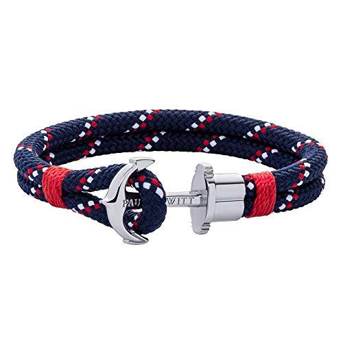 PAUL HEWITT Anker Armband PHREP - Segeltau Armband in Marineblau Rot Weiß, Armband mit Anker Schmuck aus Edelstahl (Silber) in Größe XL