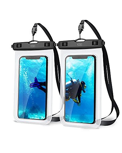 YOSH wasserdichte Handyhülle 7,0 Zoll (2 Stück) Handy Wasserschutzhülle für Schwimmen Baden und Kochen IPX8 Waterproof Phone Case Kompatibel mit iPhone 12 11 Pro XS Max XR X Samsung S8