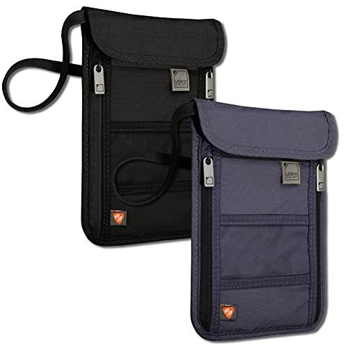 Lewis N. Clark RFID-Halsversteck, Schwarz/Marineblau, RFID-blockierende Geldbörse, Reisetasche + Reisepasshalter für Damen und Herren