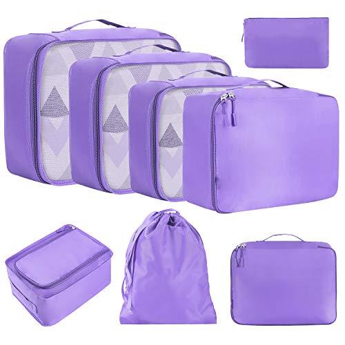 Eono by Amazon - 8 teilig Packing Cubes, Kleidertaschen Verpackungswürfel, Kleidertaschen Set, Kofferorganizer Reise Würfel, Travel Organizers, Lila