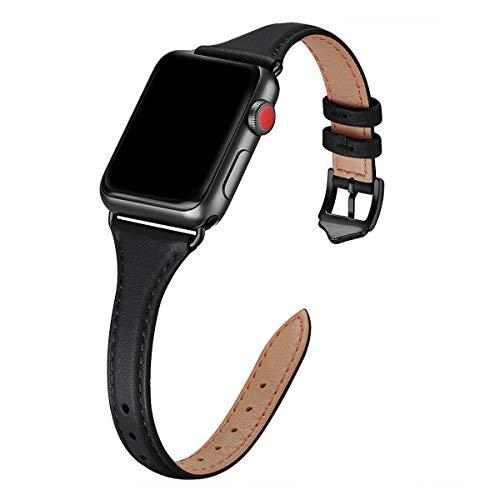 WFEAGL Kompatibel mit Apple Watch Armband 38mm 40mm 42mm 44mm, Mehrfache Farben Slim Leather Ersatzband mit Edelstahl-Verschluss für IWatch Serie 5/4/3/2/1(38mm 40mm,Schwarz+Schwarz Adapter)