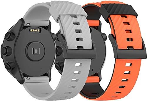Gransho Silikon Uhrenarmband kompatibel mit Suunto Spartan Sport Wrist HR / 9/9 Baro / 7, Ersatzarmband Sportarmband Uhr Zubehör (Pattern 4+Pattern 5)