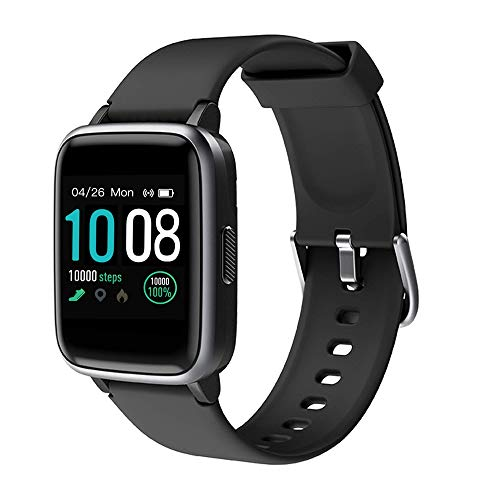 (2020 Neuest)GRDE Smartwatch,Bluetooth V5.0 Fitness Armbanduhr Voll Touchscreen Fitness Tracker 5ATM Wasserdicht Sportuhr mit Pulsuhren Schrittzähler Musiksteuerung Anruf SNS Damen Herren