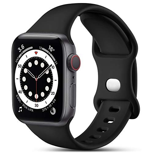 CeMiKa Kompatibel mit Apple Watch Armband 38mm 40mm 42mm 44mm, Ersatz Armband aus Silikon für Sport Armbänder Kompatibel mit iWatch Armband SE Series 6 5 4 3 2 1, 38mm/40mm-M/L, Schwarz
