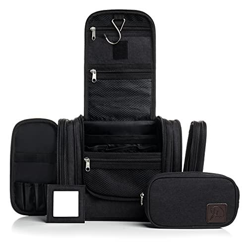 Obics Kulturbeutel schwarz Kulturtasche mit abnehmbaren Spiegel und extra Tasche mobil Toilettentasche 8L Stoff Gross geeignet für Outdoor Camping, Reisen, Travel, Shower, Geschenk Set mit Riemen XL